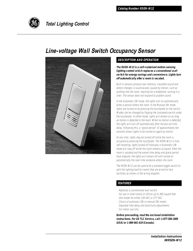 Line Voltage Wall Switch Occupancy Sensor Instructions On Off