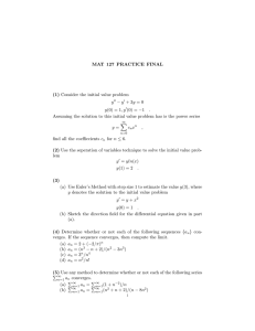 MAT 127 PRACTICE FINAL (1) Consider the initial value problem y
