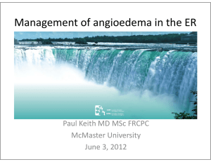 Angioedema in the ER - Canadian Association of Emergency