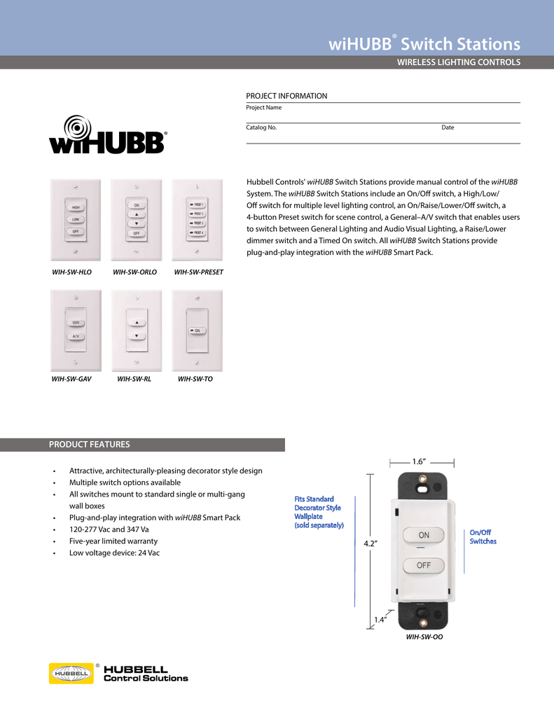 wiHUBB Switches Spec Sheet - Hubbell Control Solutions