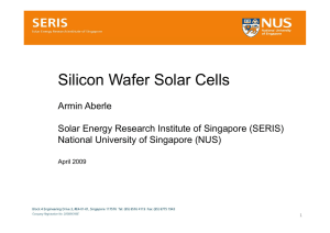 Silicon Wafer Solar Cells - Solar Energy Research Institute of