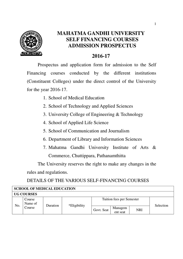 MAHATMA GANDHI UNIVERSITY SELF FINANCING COURSES