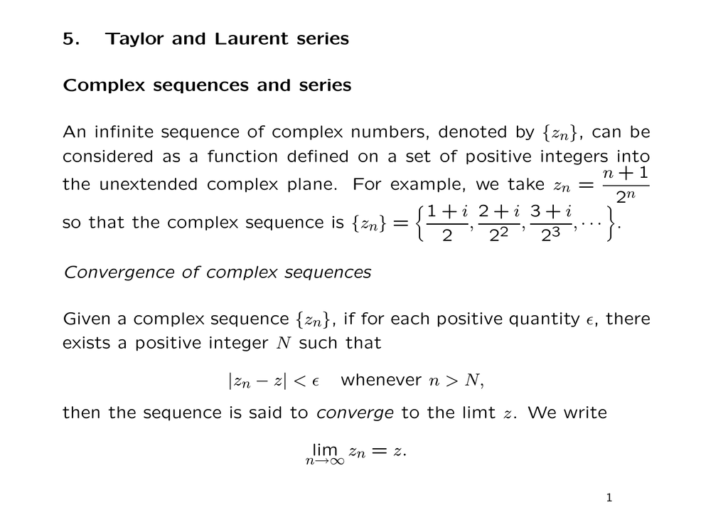 5  Taylor and Laurent series Complex sequences and series An