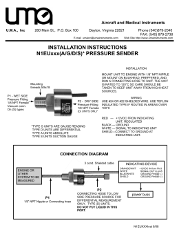 INSTALLATION INSTRUCTIONS N1EUxxx(A/G/D/S)* PRESSURE