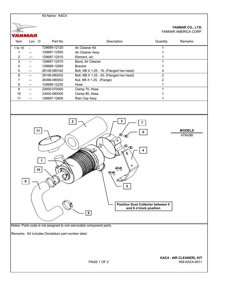 Kit Name Kac4 1 To 10 Air Cleaner Yanmar 4tnv Wiring Diagrams