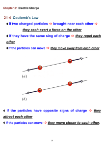 21-4 Coulomb`s Law * If two charged particles brought near each