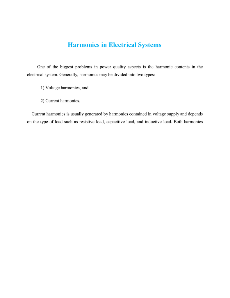 Harmonics in Electrical Systems