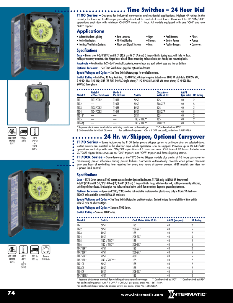 Time Switches 24 Hour Dial Hr W Skipper Optional Carryover Wiring Diagram For Intermatic T8845pv Timer