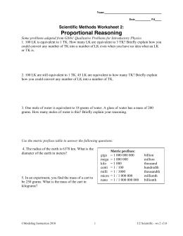 Scientific Methods Worksheet 2: