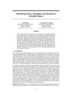 Identifying Focus, Techniques and Domain of Scientific Papers