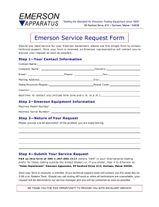 Emerson Service Request Form