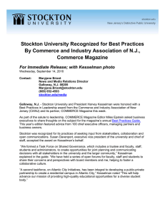 Stockton University Recognized for Best Practices By Commerce