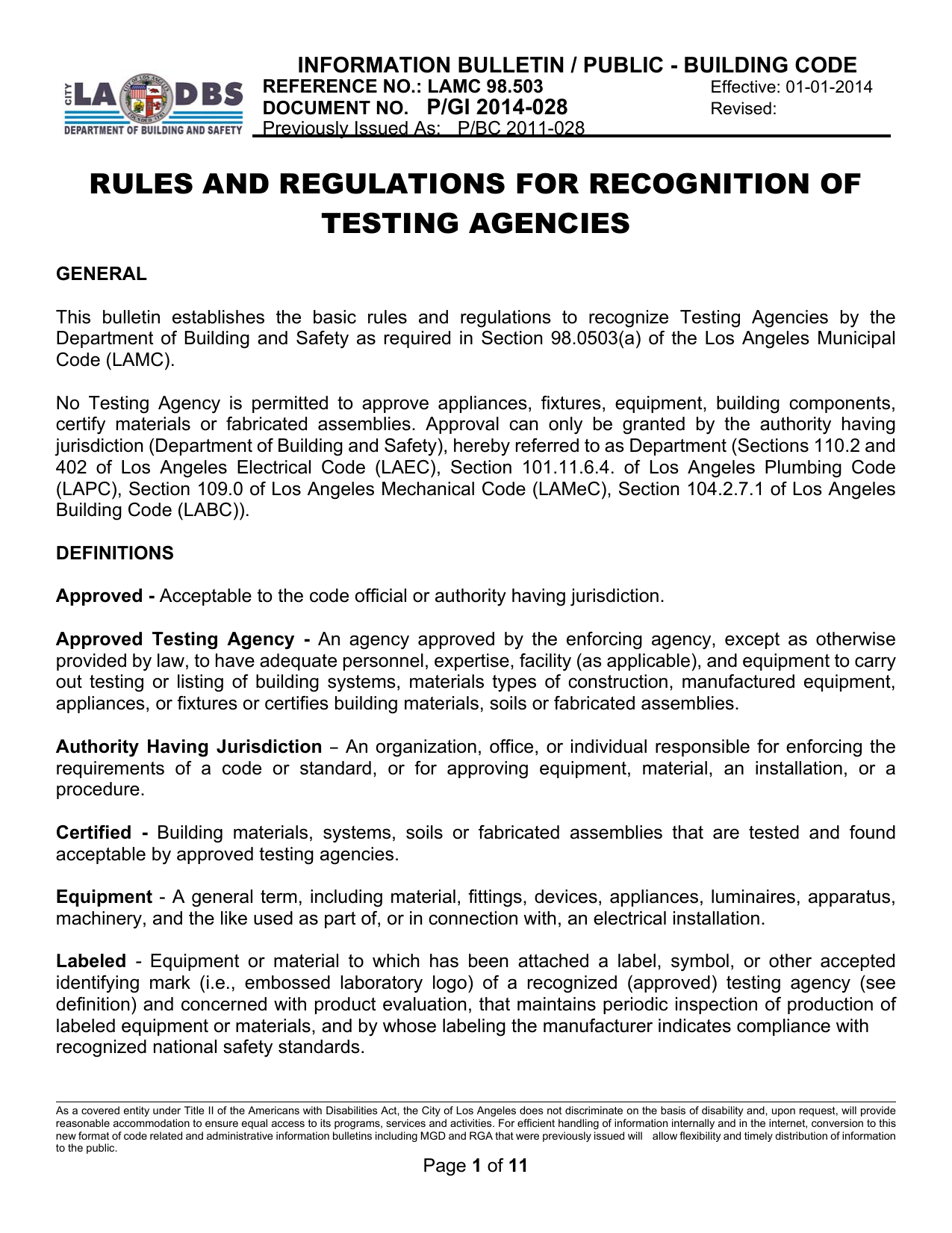 Rules and Regulations for Recognition of Testing Agencies