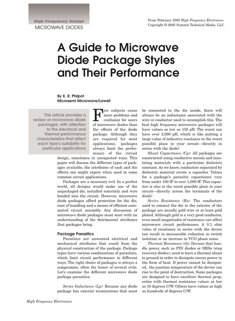 A Guide to Microwave Diode Package Styles and Their Performance