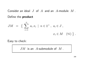 Consider an ideal J of A and an A-module M . Define the product JM