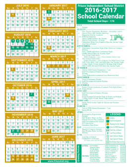 Frisco Isd Calendar 2017 | Calendar 2017