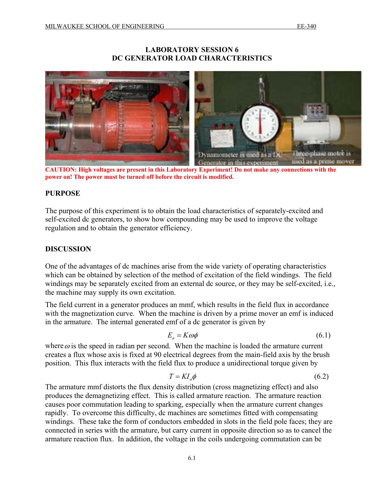 Dc Generator Load Characteristics Figure 45 Shortcircuit Of Generators