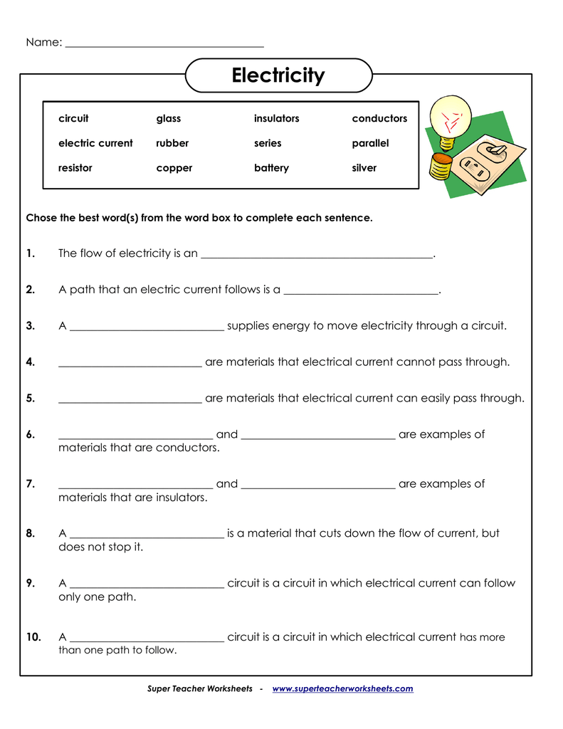 Electricity - Super Teacher Worksheets