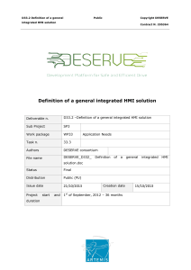 Definition of a general integrated HMI solution