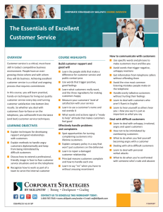 The Essentials of Excellent Customer Service