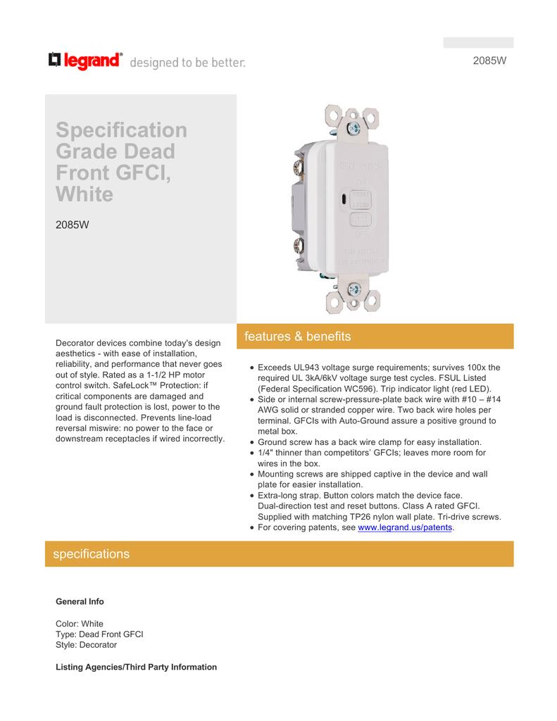 Specification Grade Dead Front Gfci White No Ground Wiring Diagram