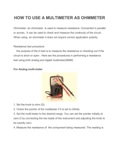 HOW TO USE A MULTIMETER AS OHMMETER