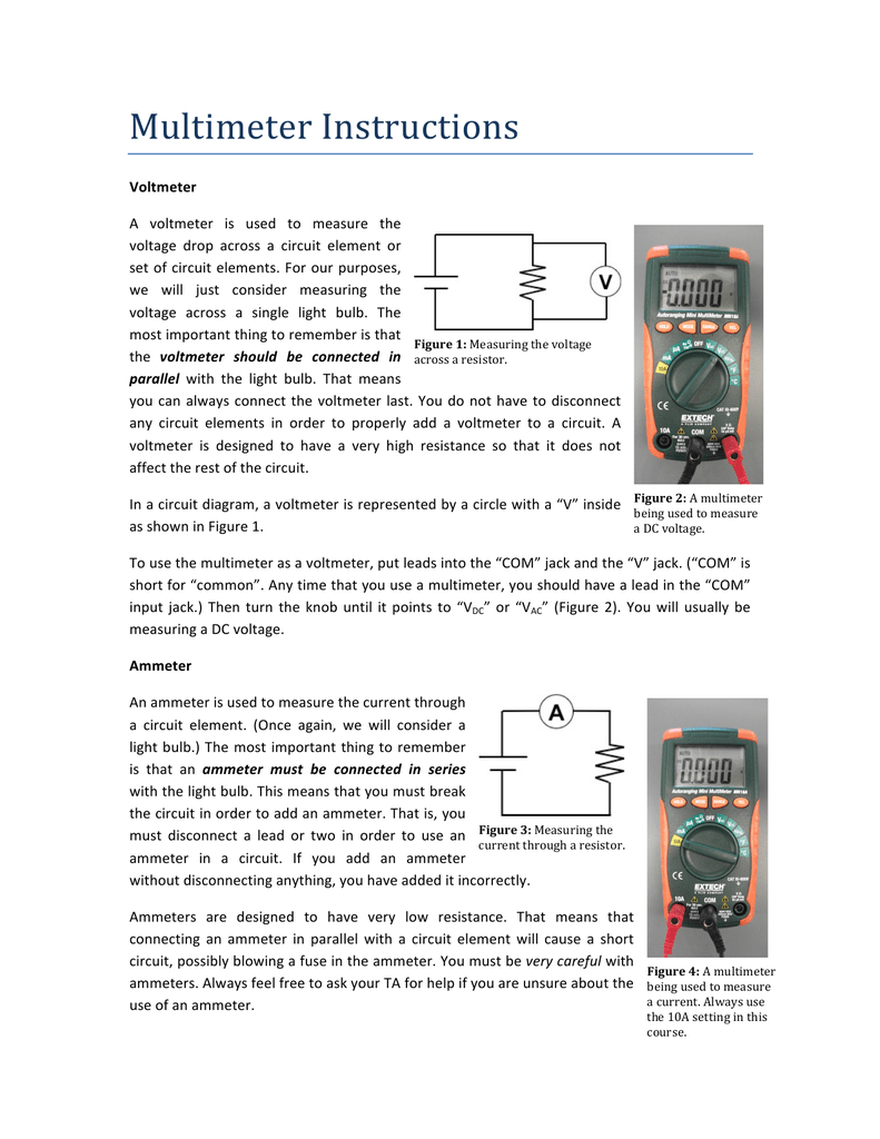 Using Multimeters Digital Voltmeter Ammeter Wiring Diagram