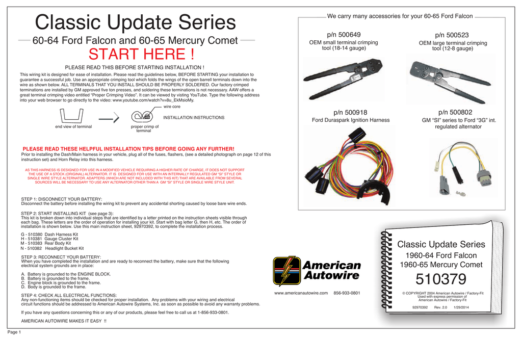 INSTRUCTIONS FOR 510379 WIRING KIT on