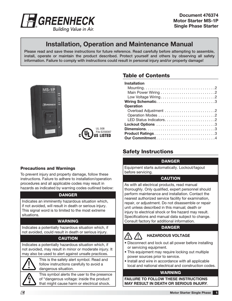 Installation Operation And Maintenance Manual Equipment Electrical Wiring Schematic