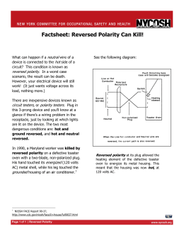 Factsheet D – Reversed Polarity Can Kill