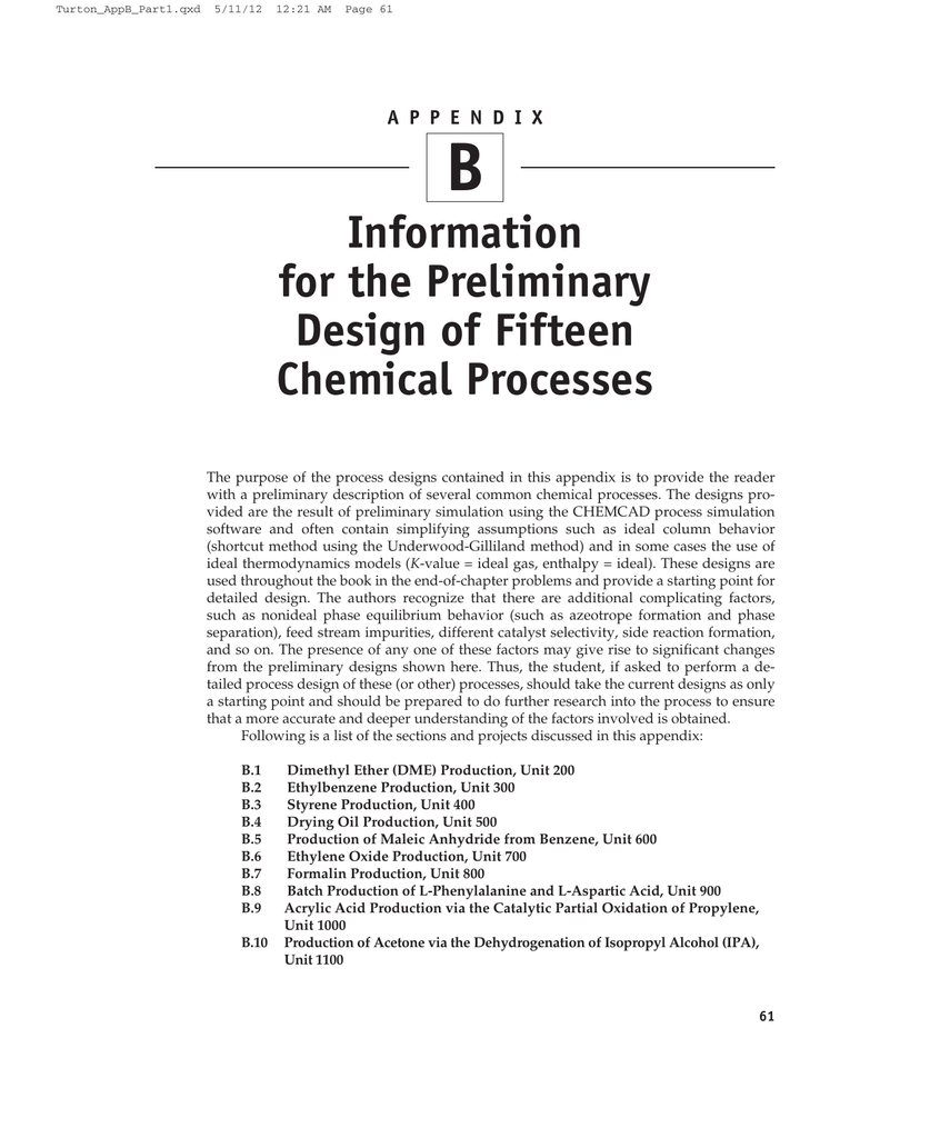 B Information for the Preliminary Design of Fifteen Chemical