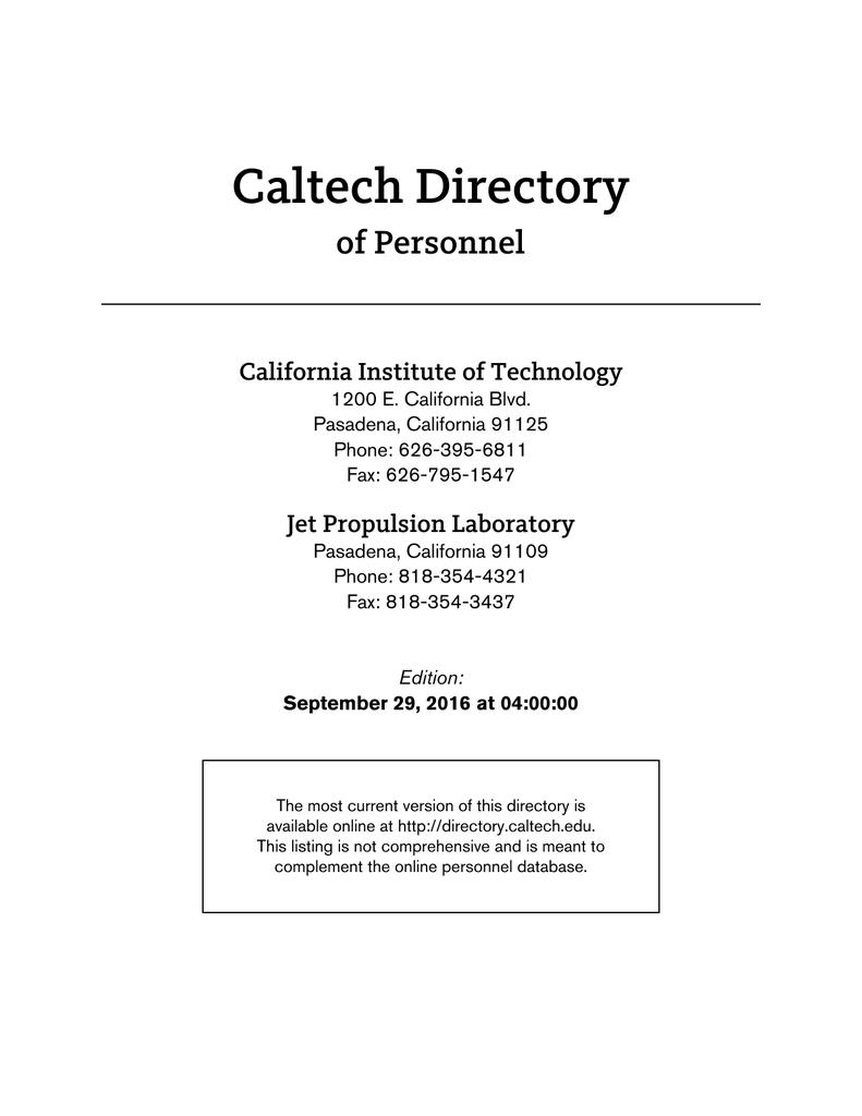 Caltech personnel directory xflitez Choice Image
