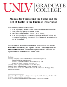 Manual for Formatting the Tables and the List of Tables in the Thesis