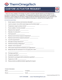 Custom Actuator Request Form