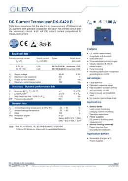 DC Current Transducer DK-C420 B I = 5 .. 100 A