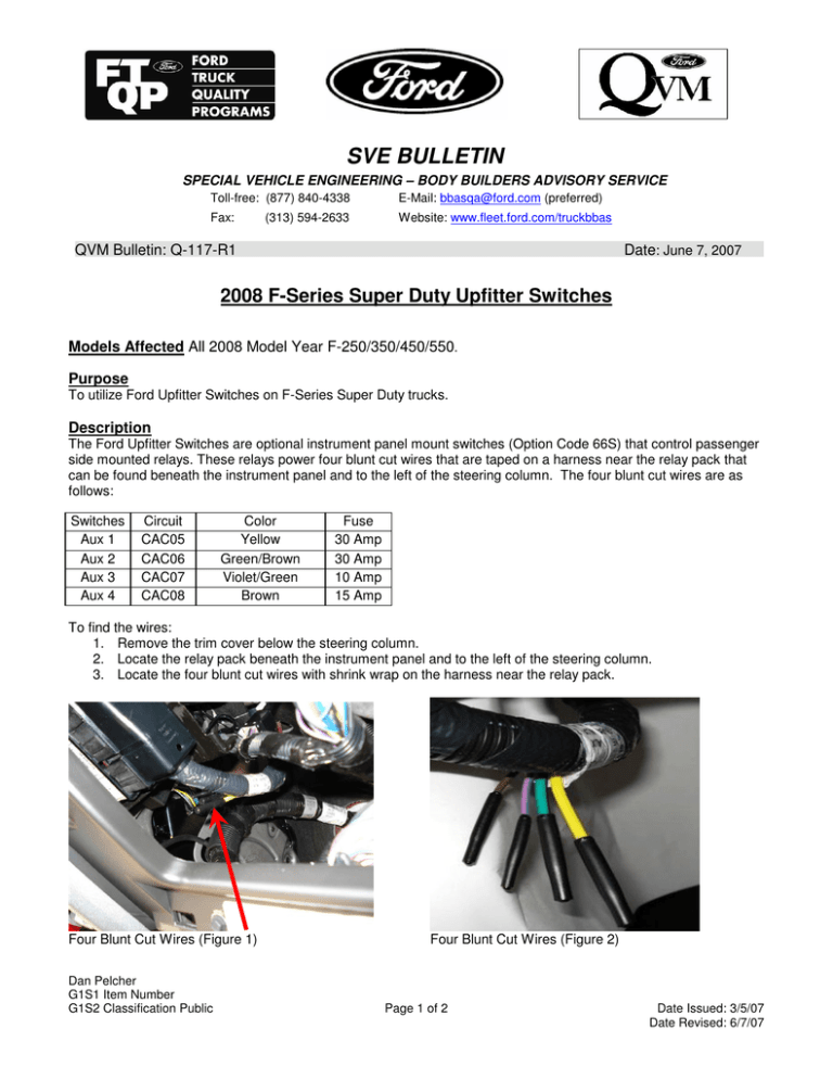 2008 F-Series Super Duty Upfitter Switches | Ford F 350 Steering Column Wiring Diagram |  | StudyLib