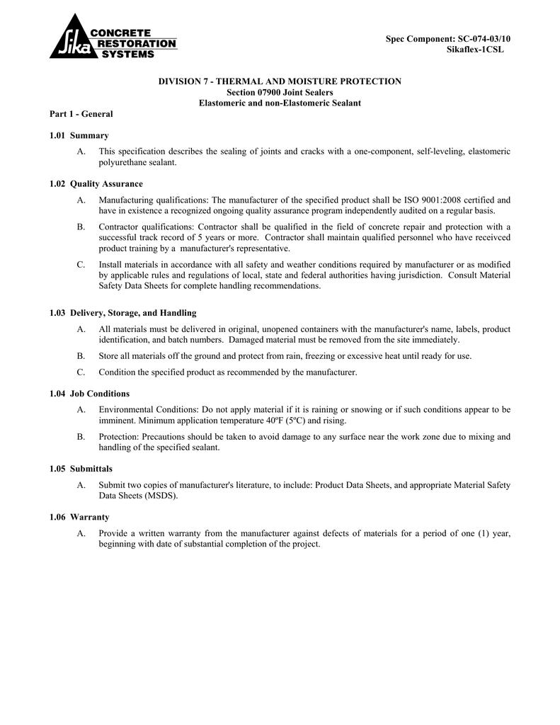 Sikaflex -1c SL - Guide Specifications