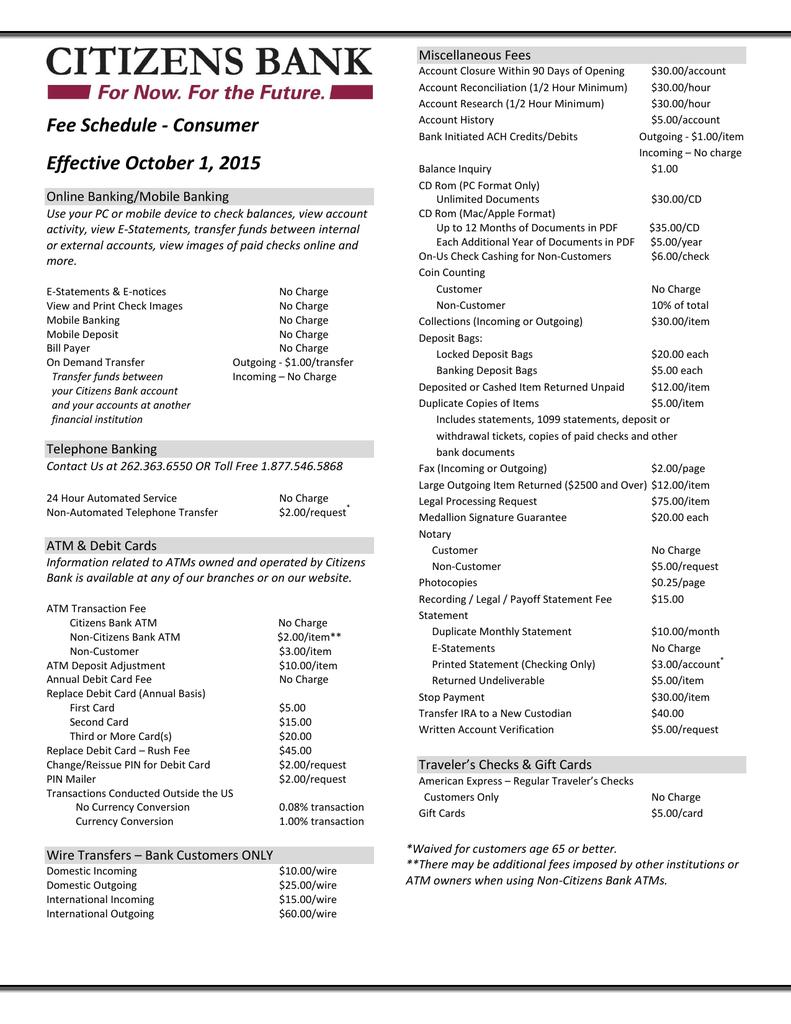 Fee Schedule - Consumer Effective October 1, 2015
