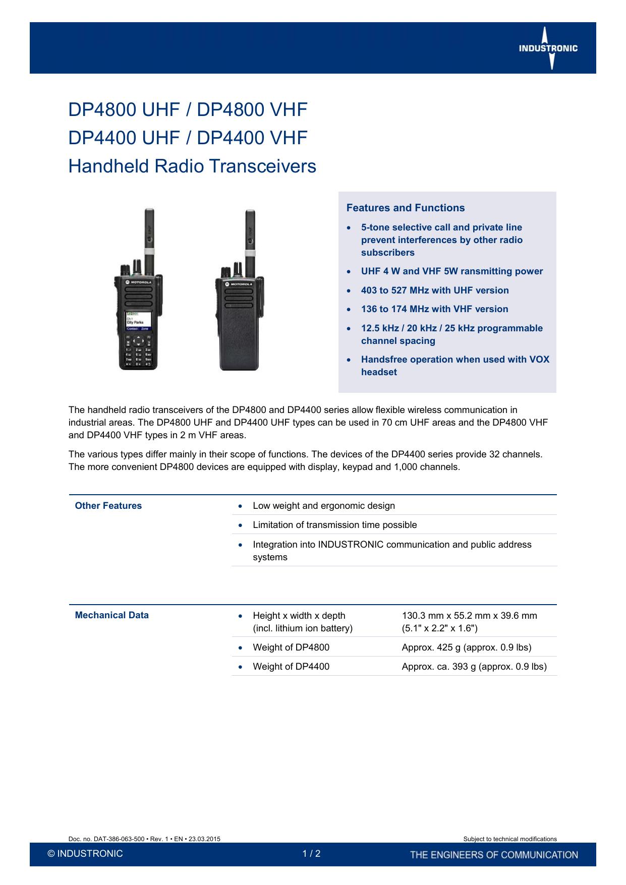 Handheld Radio Transceivers