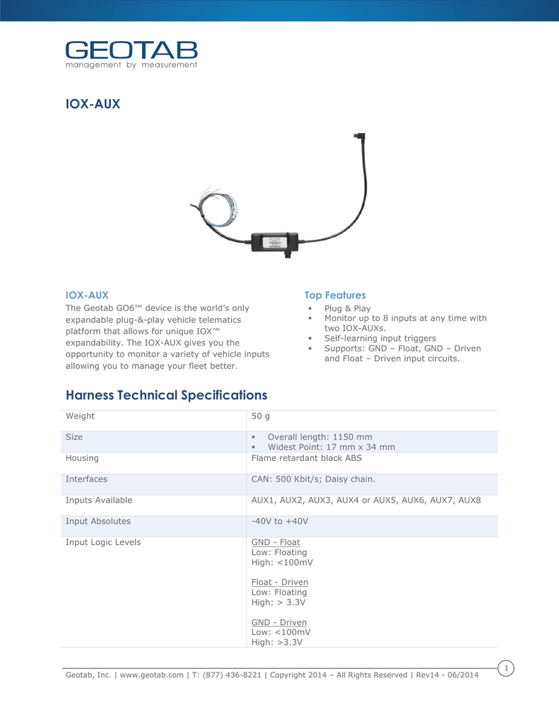 Iox Aux Harness Technical Specifications