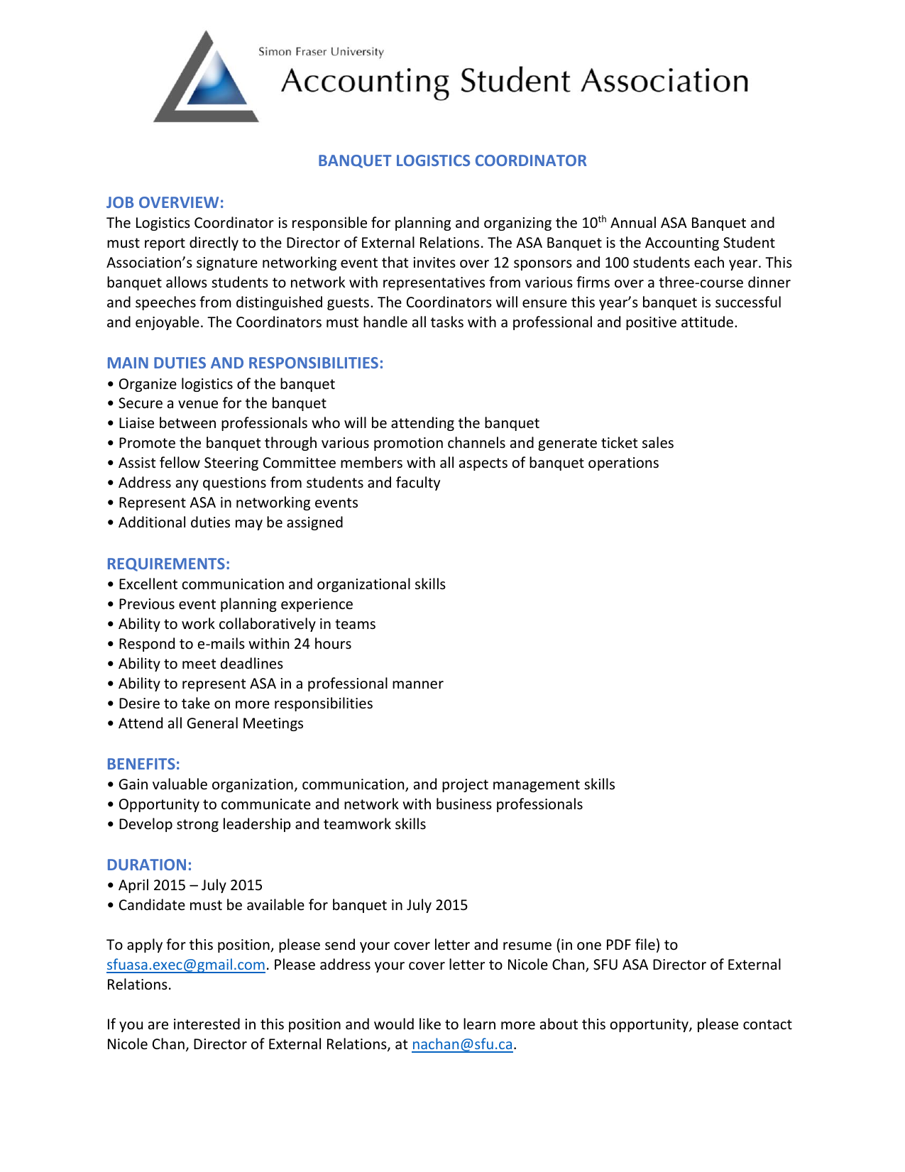 BANQUET LOGISTICS COORDINATOR JOB OVERVIEW: MAIN