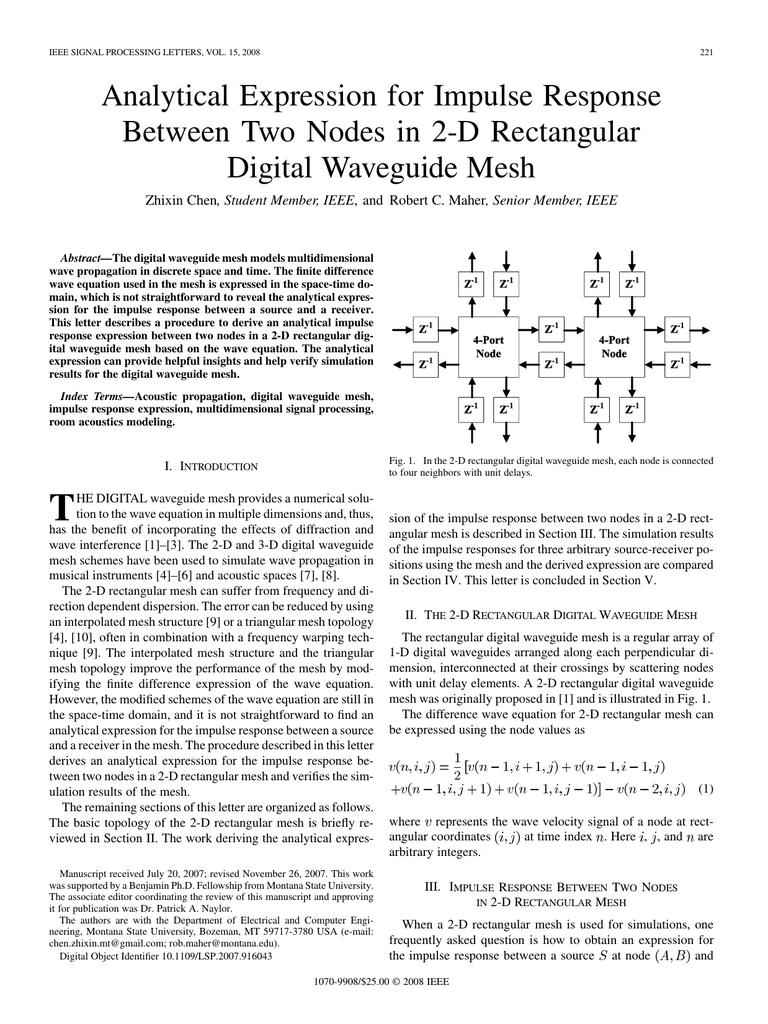 Analytical expression for impulse response between two nodes