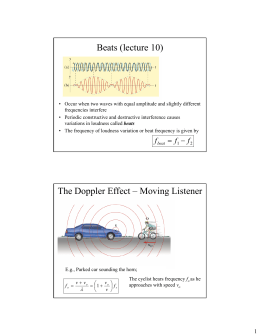 Beats (lecture 10) The Doppler Effect – Moving Listener