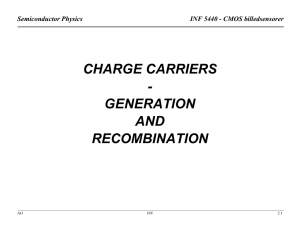 CHARGE CARRIERS - GENERATION AND RECOMBINATION