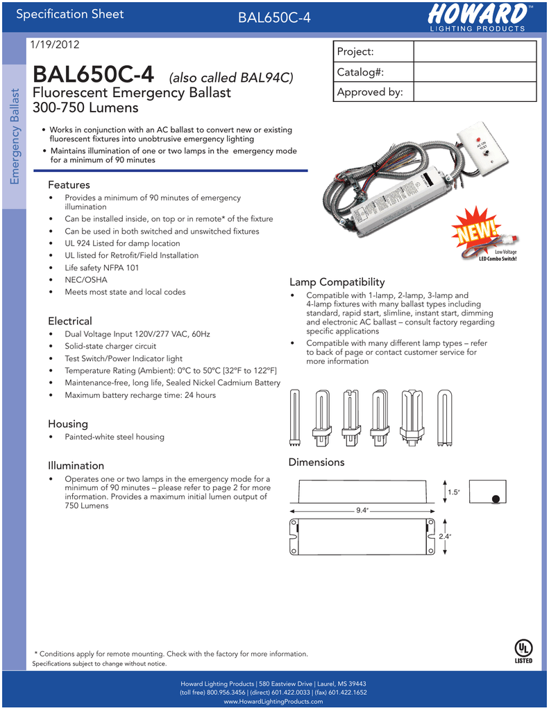 Bal650c 4 Fluorescent Emergency Ballast 300 Lamp Wiring Diagram