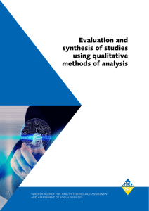 Evaluation and synthesis of studies using qualitative methods of