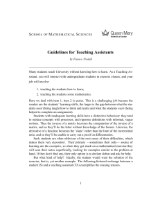 Guidelines for Teaching Assistants