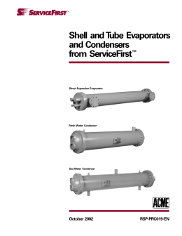 Shell and Tube Evaporators and Condensers from ServiceFirst