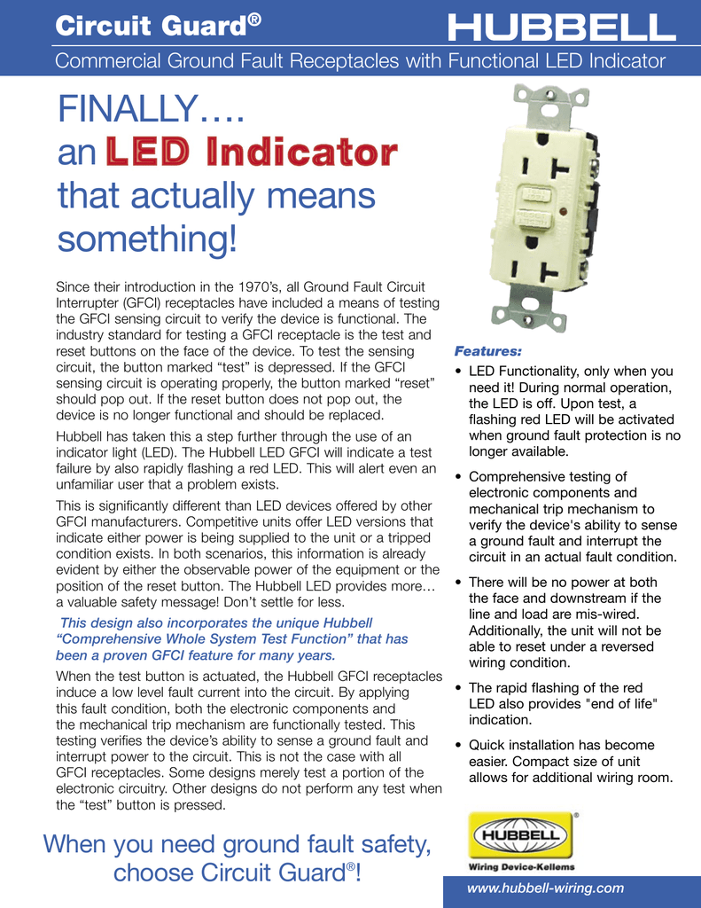 Commercial Ground Fault Receptacles With Functional Led Circuit Interrupt