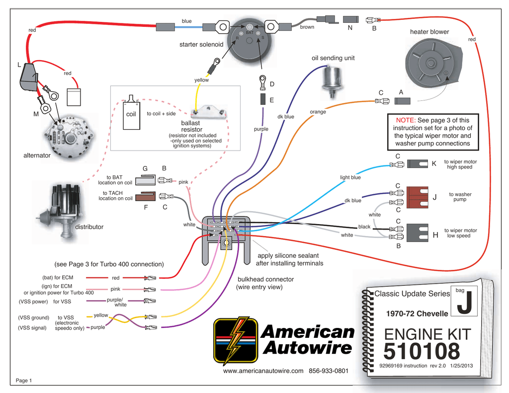 ENGINE WIRING KIT , 1970-1972 Chevelle